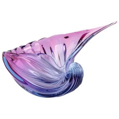 Barbini Murano Sommerso Purple Blue Italian Art Glass Conch Shell Bowl Sculpture