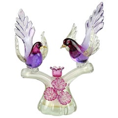Barbini Murano Sommerso Purple Gold Flecks Italian Art Glass Birds Sculpture