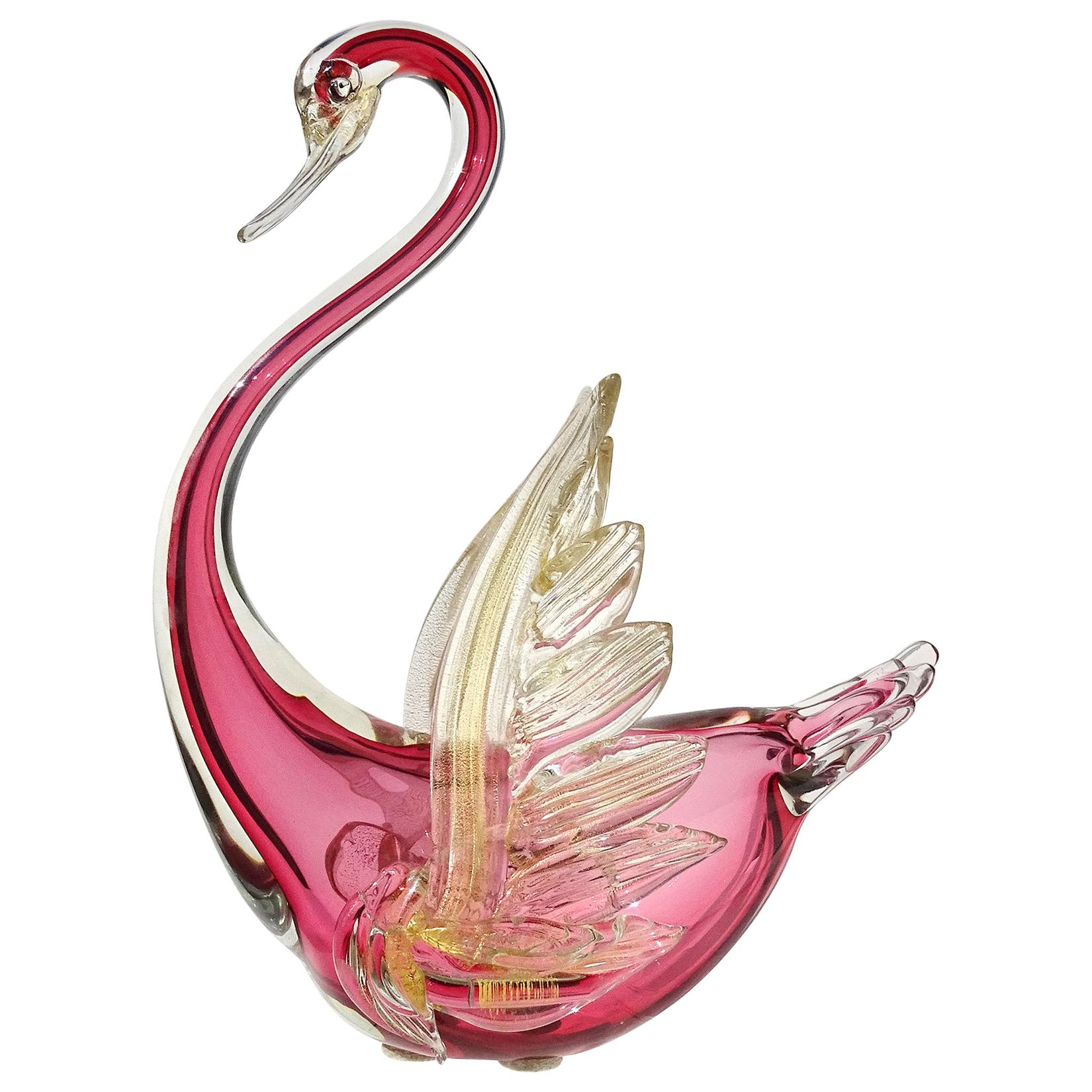 Barbini Murano Sommerso Red Gold Flecks Italian Art Glass Swan Bird Sculpture