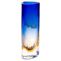 Barbini Murano Triangular Ochre and Blue Blown Glass Battuto Vase, circa 1975