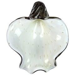 Barbini Murano White Black Gold Fleck Italian Art Glass Seashell Sculptural Bowl