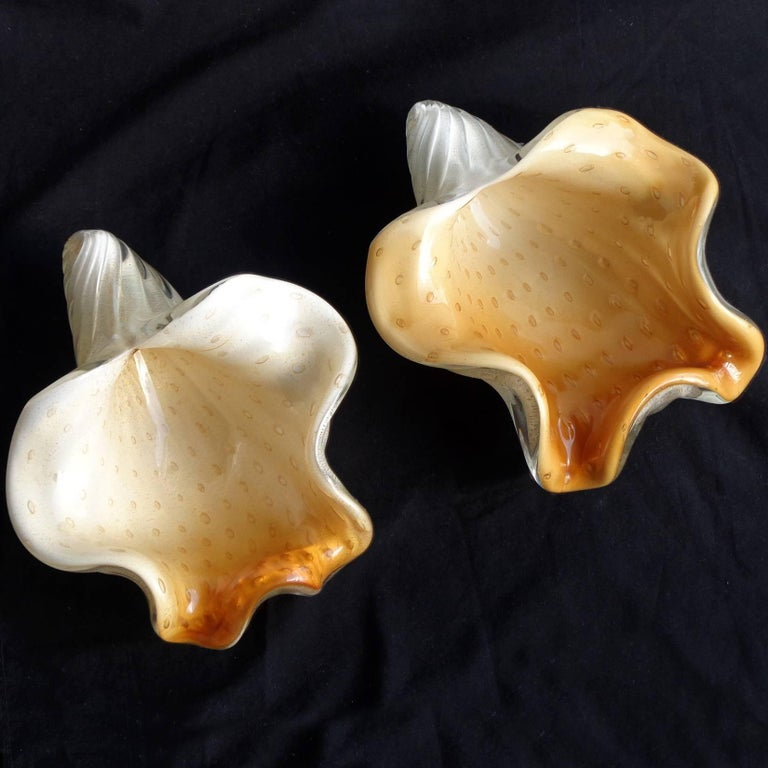 Hand-Crafted Barbini Murano White Orange Gold Italian Art Glass Seashell Sculptures Bowls For Sale