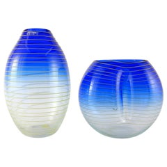 Barbini Murano Yellow and Blue Stripe Glass Vase Set Italy
