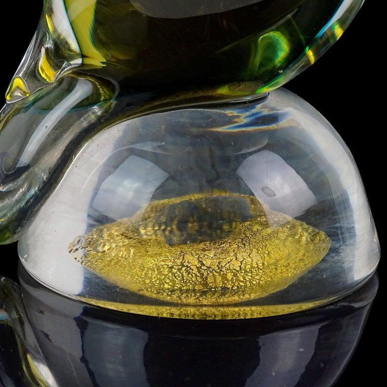20th Century Barbini Murano Yellow Green Blue Sommerso Italian Art Glass Owl Bird Sculpture For Sale