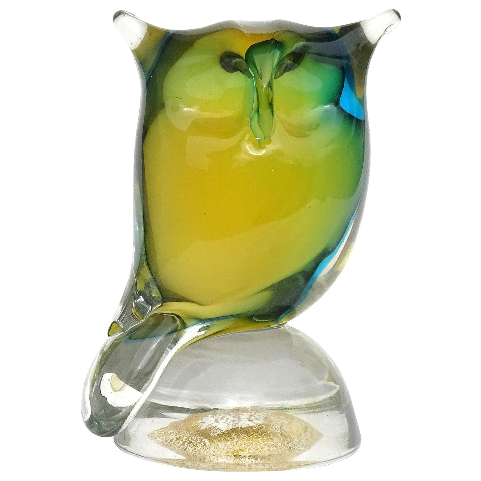 Barbini Murano Yellow Green Blue Sommerso Italian Art Glass Owl Bird Sculpture