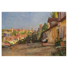"""Barbizon Oil Painting """"Village Ensoleille"""" by Emile-Charles Dameron 'French, 184"""