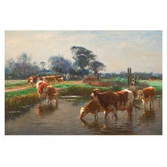 Barbizon Painting of Cows Drinking by Léon Barillot 'French, 1844-1929'