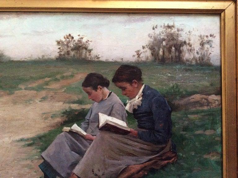 French Barbizon School 2 Reading Girls in Landscape For Sale