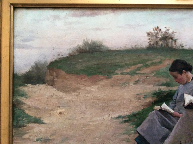 Hand-Painted Barbizon School 2 Reading Girls in Landscape For Sale