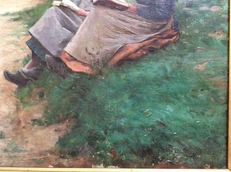Canvas Barbizon School 2 Reading Girls in Landscape For Sale