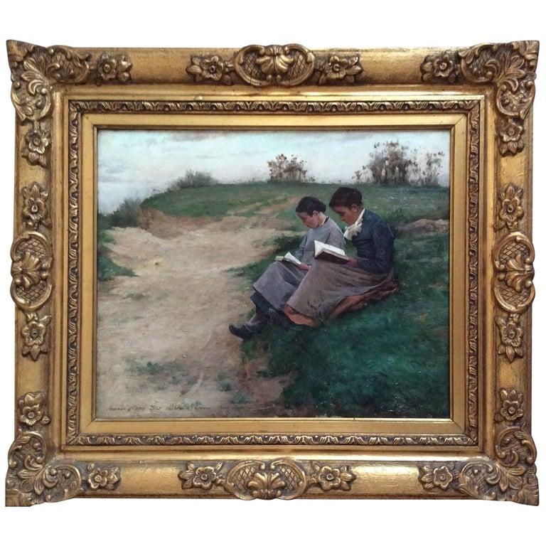 Barbizon School 2 Reading Girls in Landscape For Sale