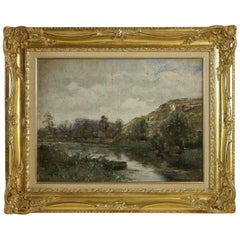 Barbizon School, River Landscape, Oil on Cardboard, circa 1880-1890