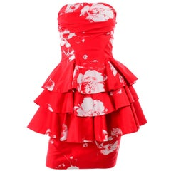 Barboglio Cristina Jan Red & White Floral 2 Pc Strapless Peplum Dress