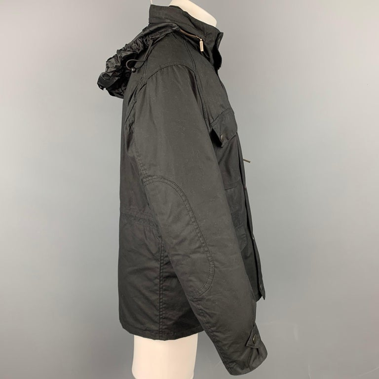 BARBOUR Sapper Size M Black Waxed Cotton Corduroy Collar Zip & Snaps Jacket In Good Condition For Sale In San Francisco, CA