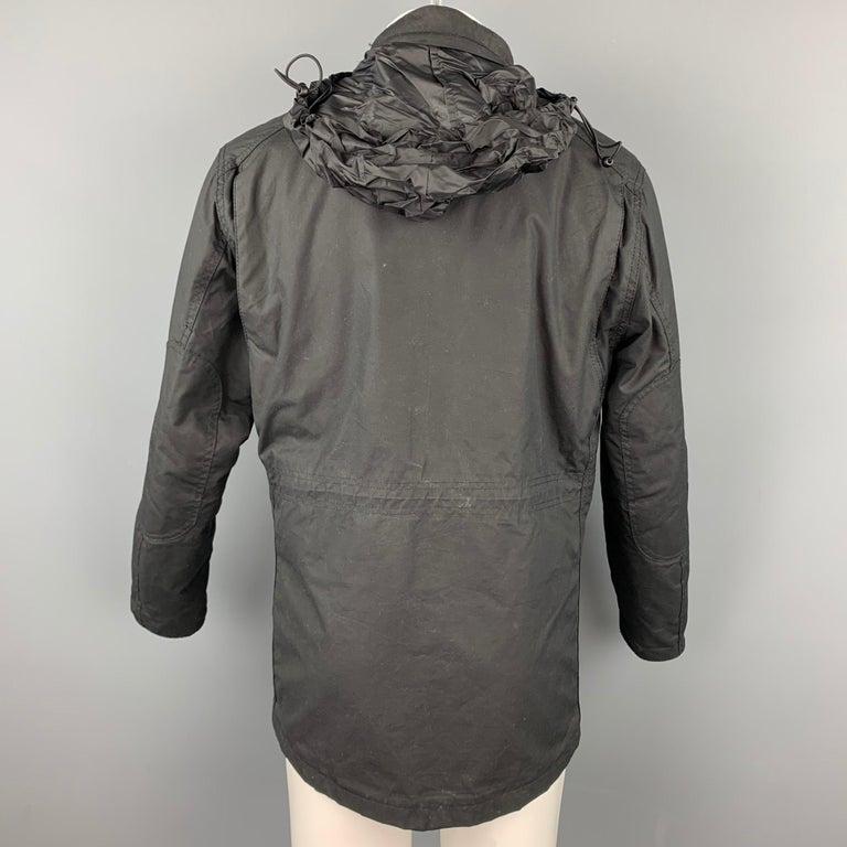 Men's BARBOUR Sapper Size M Black Waxed Cotton Corduroy Collar Zip & Snaps Jacket For Sale