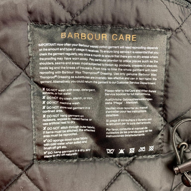BARBOUR Sapper Size M Black Waxed Cotton Corduroy Collar Zip & Snaps Jacket For Sale 2