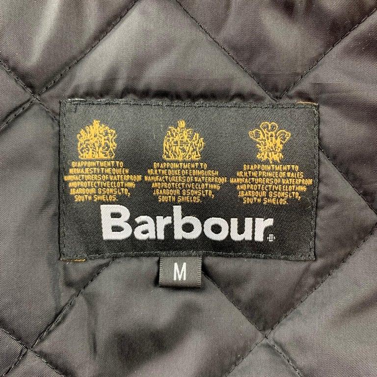 BARBOUR Sapper Size M Black Waxed Cotton Corduroy Collar Zip & Snaps Jacket For Sale 3