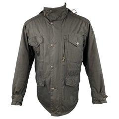 BARBOUR Sapper Size M Black Waxed Cotton Corduroy Collar Zip & Snaps Jacket