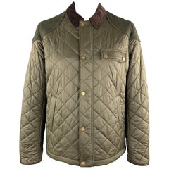 BARBOUR Size XL Olive Quilted Nylon Brown Corduroy Collar Hunting Jacket