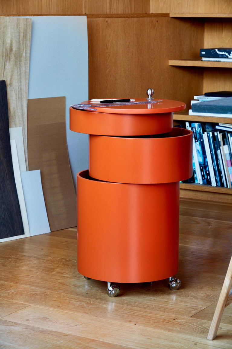 Modern Barboy Side Table and Storage Cabinet in Orange by Verner Panton For Sale