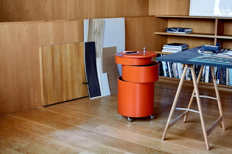 Barboy Side Table and Storage Cabinet in Orange by Verner Panton In New Condition For Sale In Horsens, DK