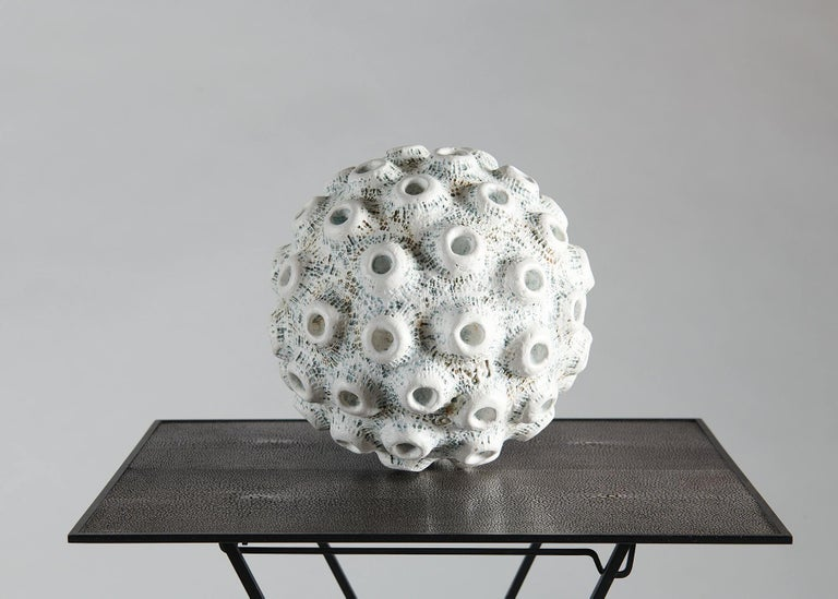 Danish Barbro Åberg 'Crater Orb,' Contemporary Stoneware Sculpture, Denmark, 2019 For Sale