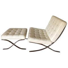 Barcelona Chair and Ottoman Attributed to Mies van der Rohe