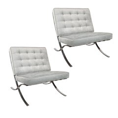 "Pair of ""Barcelona"" Chair by Mies van der Rohe in Smoked Platinum Velvet"