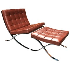 Barcelona Chair and Ottoman by Ludwig Mies van der Rohe for Knoll