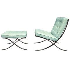 Barcelona Chair & Stool Ludwig Mies van der Rohe Knoll Studio Light Blue