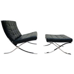Barcelona Chair with Ottoman, Black Leather, Knoll International, 1960s