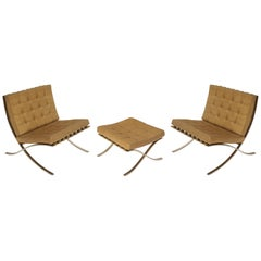 Barcelona Chairs & Ottoman by Mies van der Rohe for Knoll International, 1960s