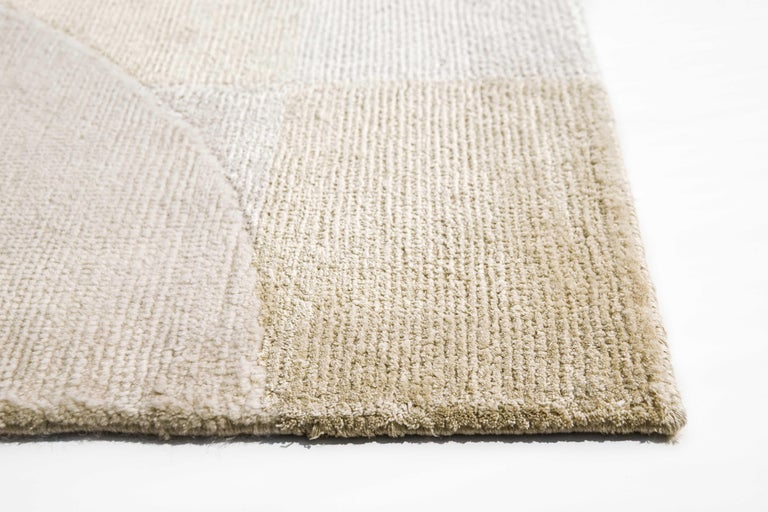 Modern Barcelona Chequers Hand Knotted Wool and Silk Rug For Sale