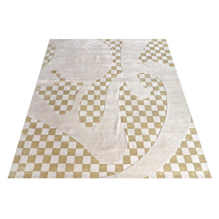 Hand-Knotted Barcelona Chequers Hand Knotted Wool and Silk Rug For Sale