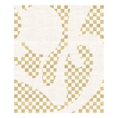 Barcelona Chequers - Graphic Beige Hand Knotted Wool Silk Rug