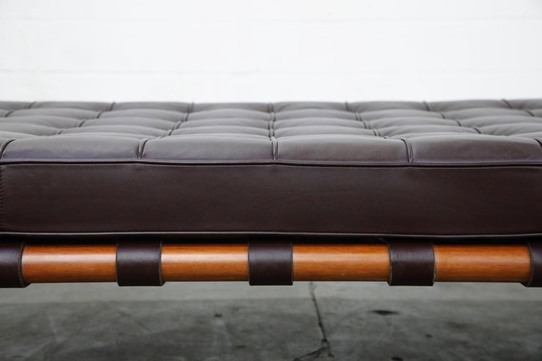 Barcelona Daybed by Mies Van Der Rohe for Knoll in Dark Brown Leather, Signed For Sale 4