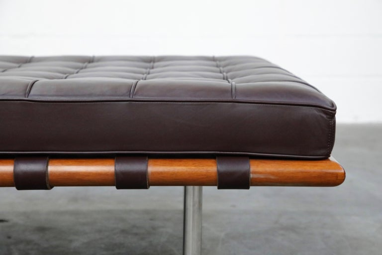 Barcelona Daybed by Mies Van Der Rohe for Knoll in Dark Brown Leather, Signed For Sale 5