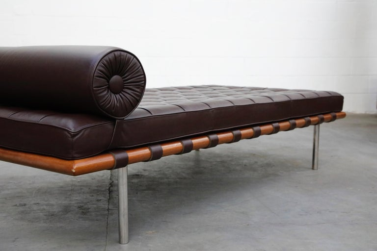 Barcelona Daybed by Mies Van Der Rohe for Knoll in Dark Brown Leather, Signed For Sale 7
