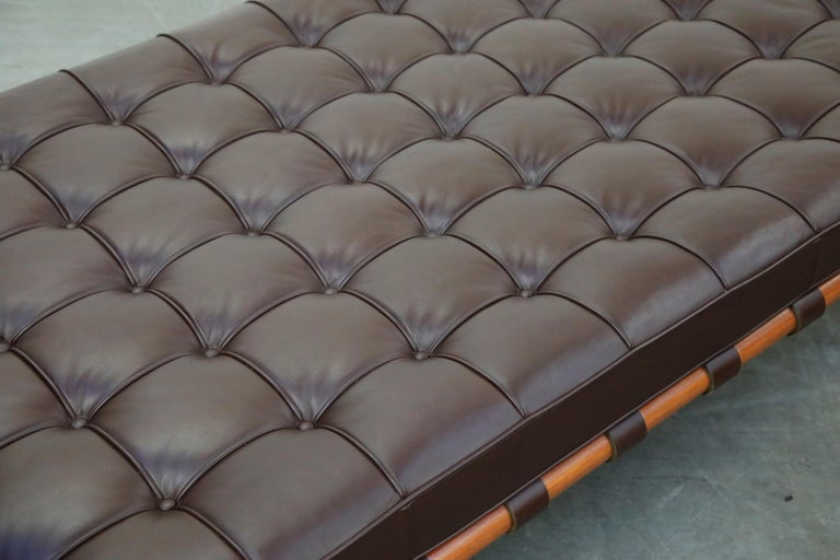 Barcelona Daybed by Mies Van Der Rohe for Knoll in Dark Brown Leather, Signed For Sale 8