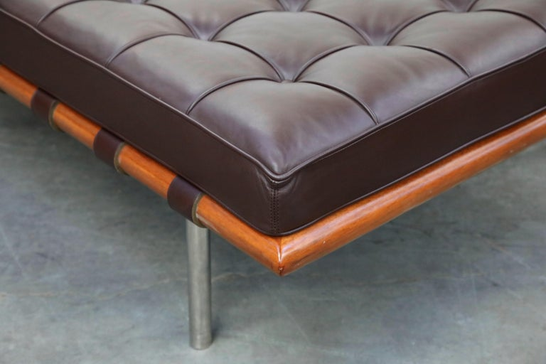 Barcelona Daybed by Mies Van Der Rohe for Knoll in Dark Brown Leather, Signed For Sale 10