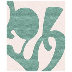 Barcelona Green, Modern Bedroom Hand Knotted Wool Silk Rug