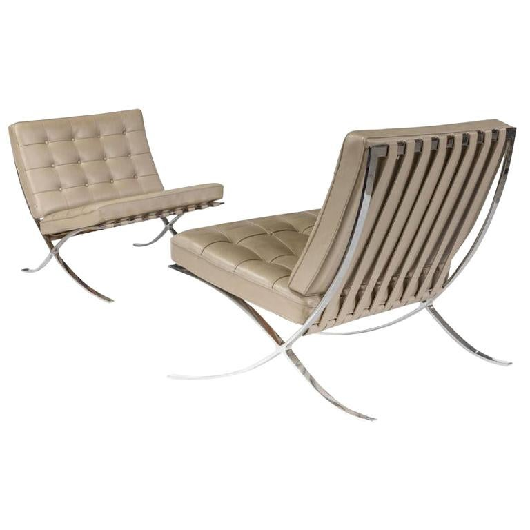Barcelona Lounge Chair, Knoll, Mies Van Der Rohe, Parchment Leather, Stainless