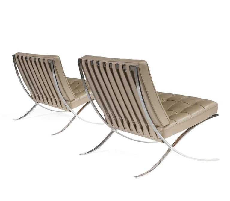Mid-Century Modern Barcelona Lounge Chair, Knoll, Mies Van Der Rohe, Parchment Leather, Stainless For Sale