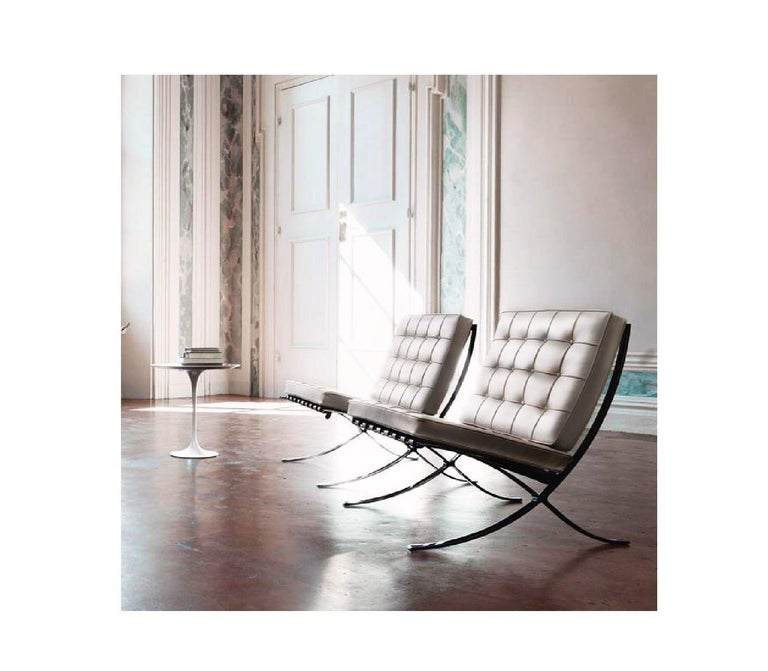 American Barcelona Lounge Chair, Knoll, Mies Van Der Rohe, Parchment Leather, Stainless For Sale