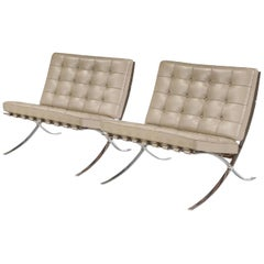 Barcelona Lounge Chair, Knoll, Mies van der Rohe, Parchment Gray Leather