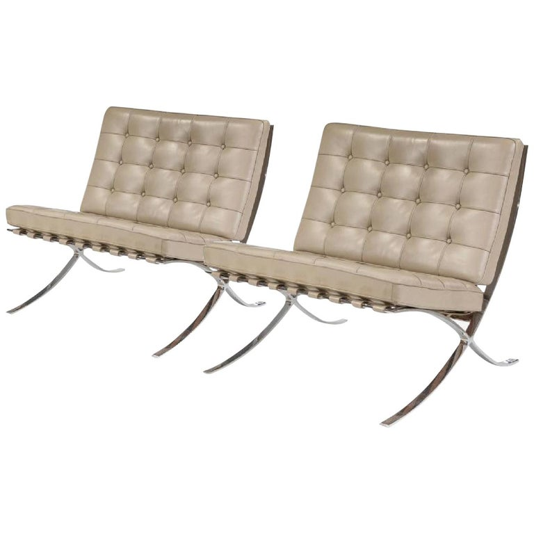 Barcelona lounge chair, Knoll, Mies van der Rohe, parchment gray leather. Stainless steel frame. (250LS) labeled and dated.  One of the most recognized objects of the last century and an icon of the modern movement, the Barcelona chair exudes a