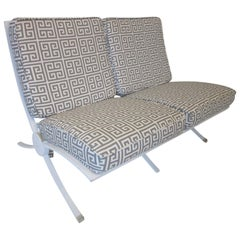 Barcelona Styled Steel and Upholstered Settee / Loveseat