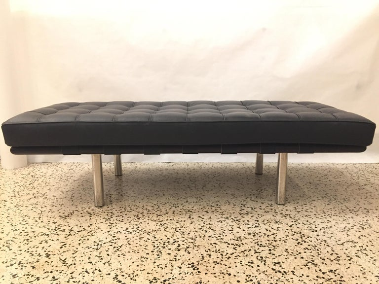 Mid-Century Modern Barcelona Tufted Leather Bench For Sale