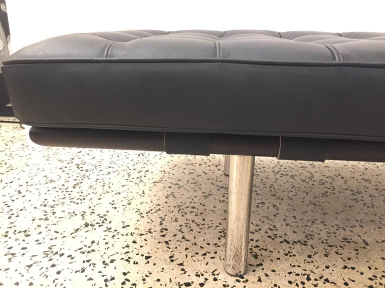 American Barcelona Tufted Leather Bench For Sale