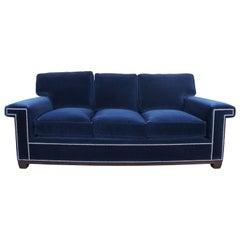 Barclay Butera Interiors Paxton Sofa Modern Blue Velvet Couch Nailhead Trim